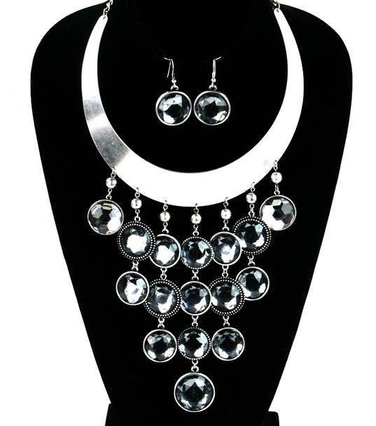 'GEMMA'  BIB NECKLACE  AND EARRING SET