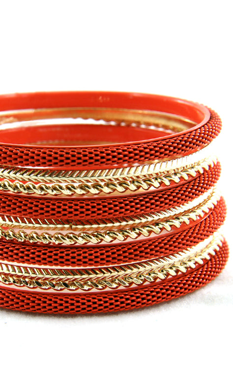 'Sexy' Stackable Bangle Bracelet - Orange
