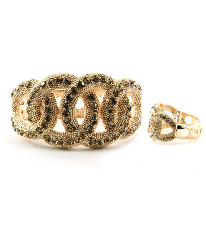 'Kim' Crystal Interwoven Bracelet - Gold