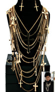 Load image into Gallery viewer, 'RIRI' DESIGNER INSPIRED CROSS NECKLACE SET  - GOLD