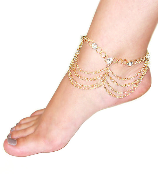 'TARA' LAYERED CRYSTAL CHAIN   ANKLET