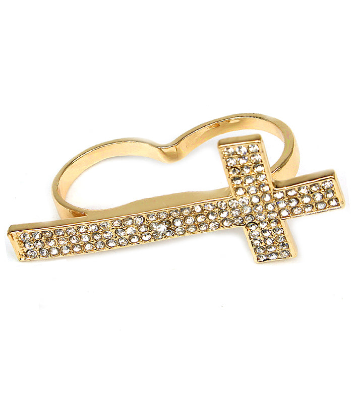 Crystal   Knuckle Cross Ring