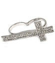 Load image into Gallery viewer, Crystal   Knuckle Cross Ring