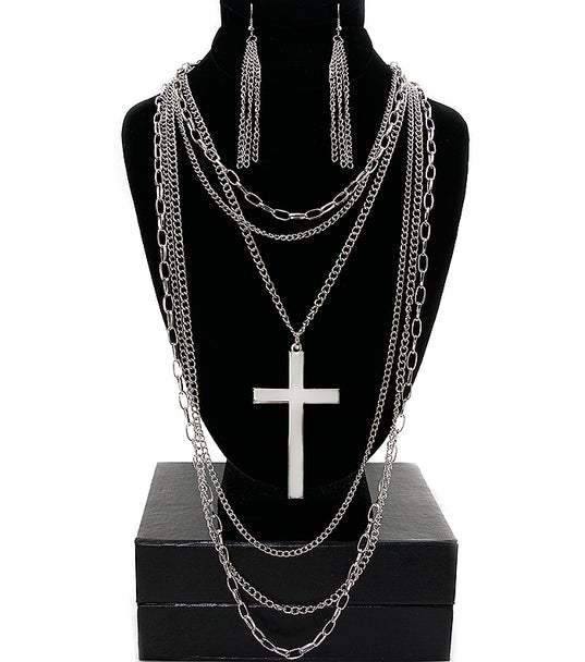 'KHLOE' CROSS NECKLACE SET
