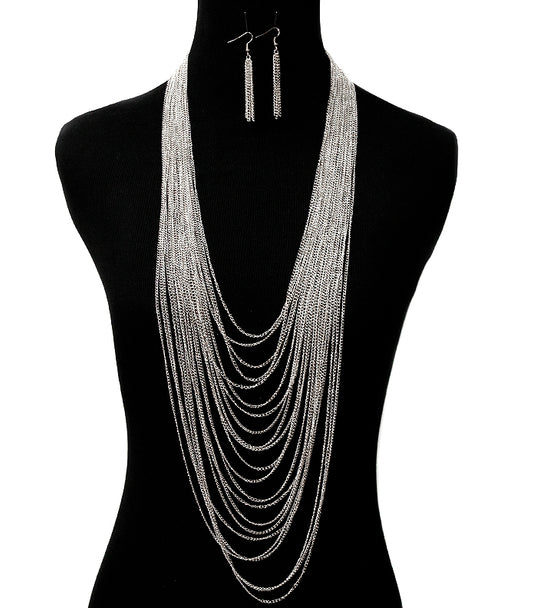 'KATIE' LONG LAYERED NECLACE AND EARRING SET