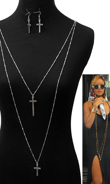 DOUBLE LAYERED CROSS NECKLACE  AND EARRING SET