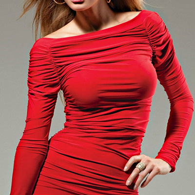 'VOGUE' LONG SLEEVE STRETCHY DRESS