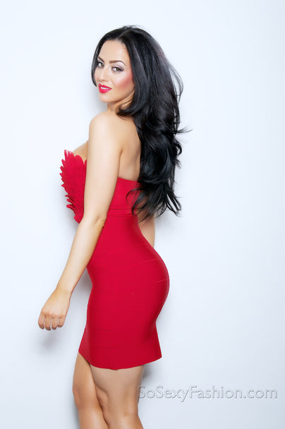 'HAILEY'  2 - FER BODYCON BANDAGE DRESS  - RED