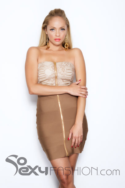 'WHITNEY'  STRAPLESS BODYCON LACE DRESS