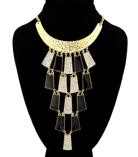 'Champagne' Crystal Statement Necklace - Gold