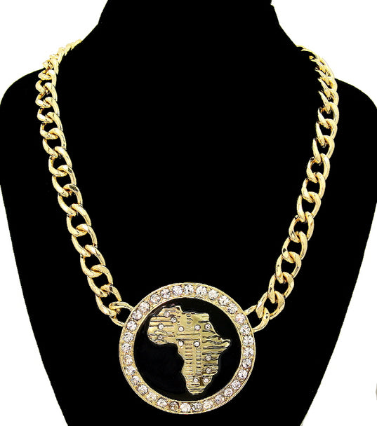 AFRICA MAP  CRYSTAL STATEMENT NECKLACE