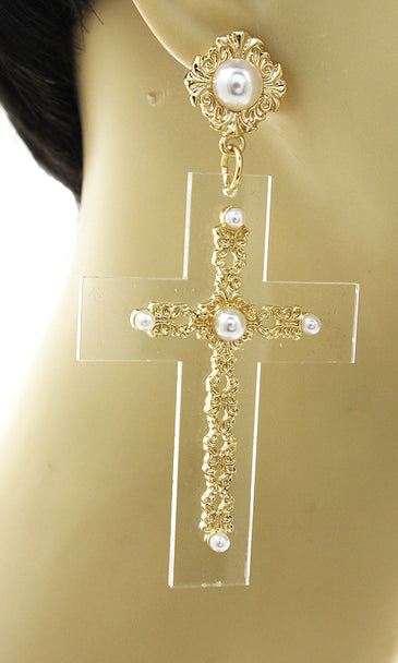 """VOGUE"" PEARL CROSS EARRINGS"
