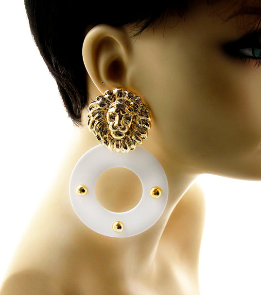 'J'ADORE'  LION ACRYLIC EARRINGS - Jewellery