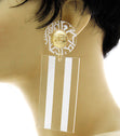Load image into Gallery viewer, 'JADORE'  Laser Cut Rectangle Earrings - WHITE