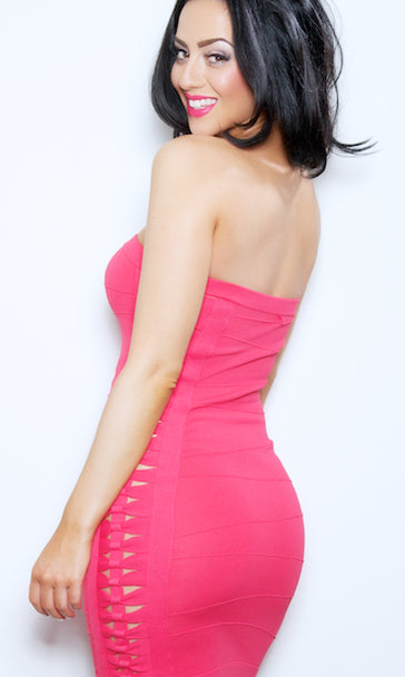 'KALI' STRAPLESS BODYCON CLUB DRESS - CORAL