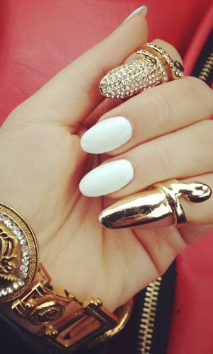 Adjustable Crystal Finger Tip Nail Ring - GOLD