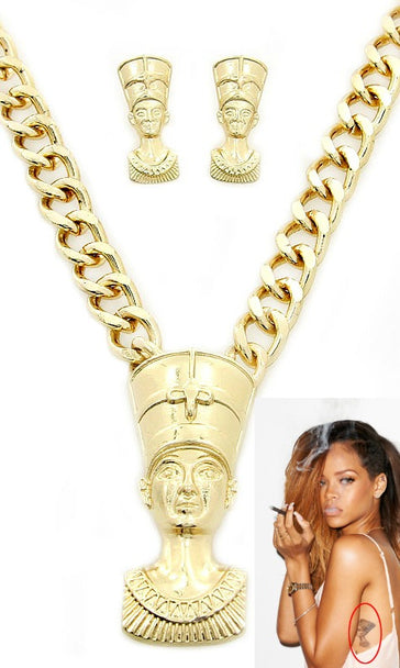 'RIRI' Egyptian Queen Necklace and Earring Set- Necklace - Jewellery