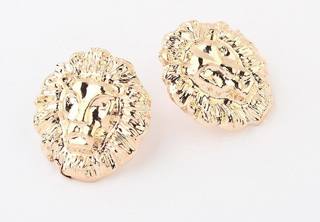 Gold Animal Lion Head earrings