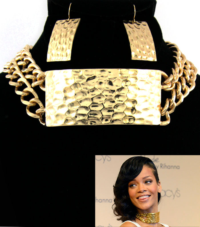 'RIHANNA' ID CHOKER NECKLACE AND EARRING SET