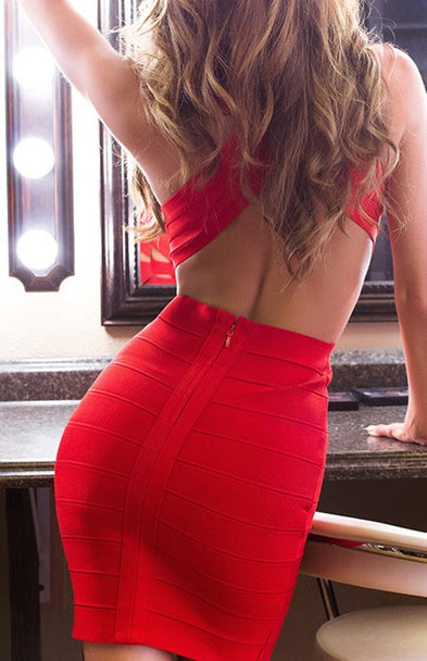 'VANESSA' DEEP V BACKLESS RED BANDAGE DRESS