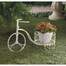Load image into Gallery viewer, White Metal Tricycle Planter