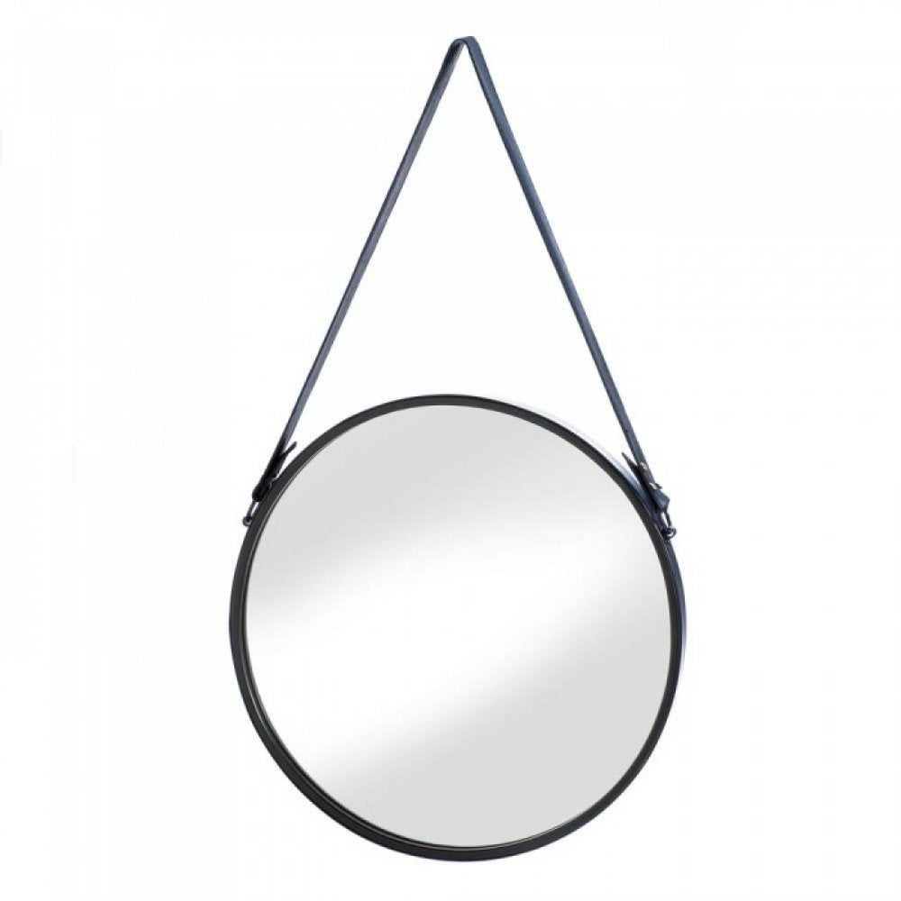 Hanging Mirror With Faux Leather Strap