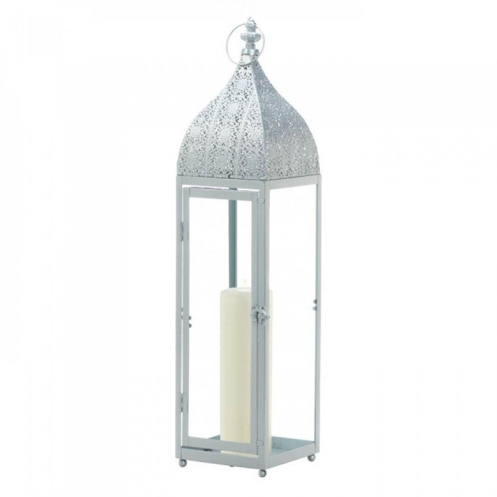 Large Silver Moroccan Style Lantern