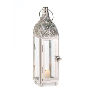 Polished Metal Candle Lantern