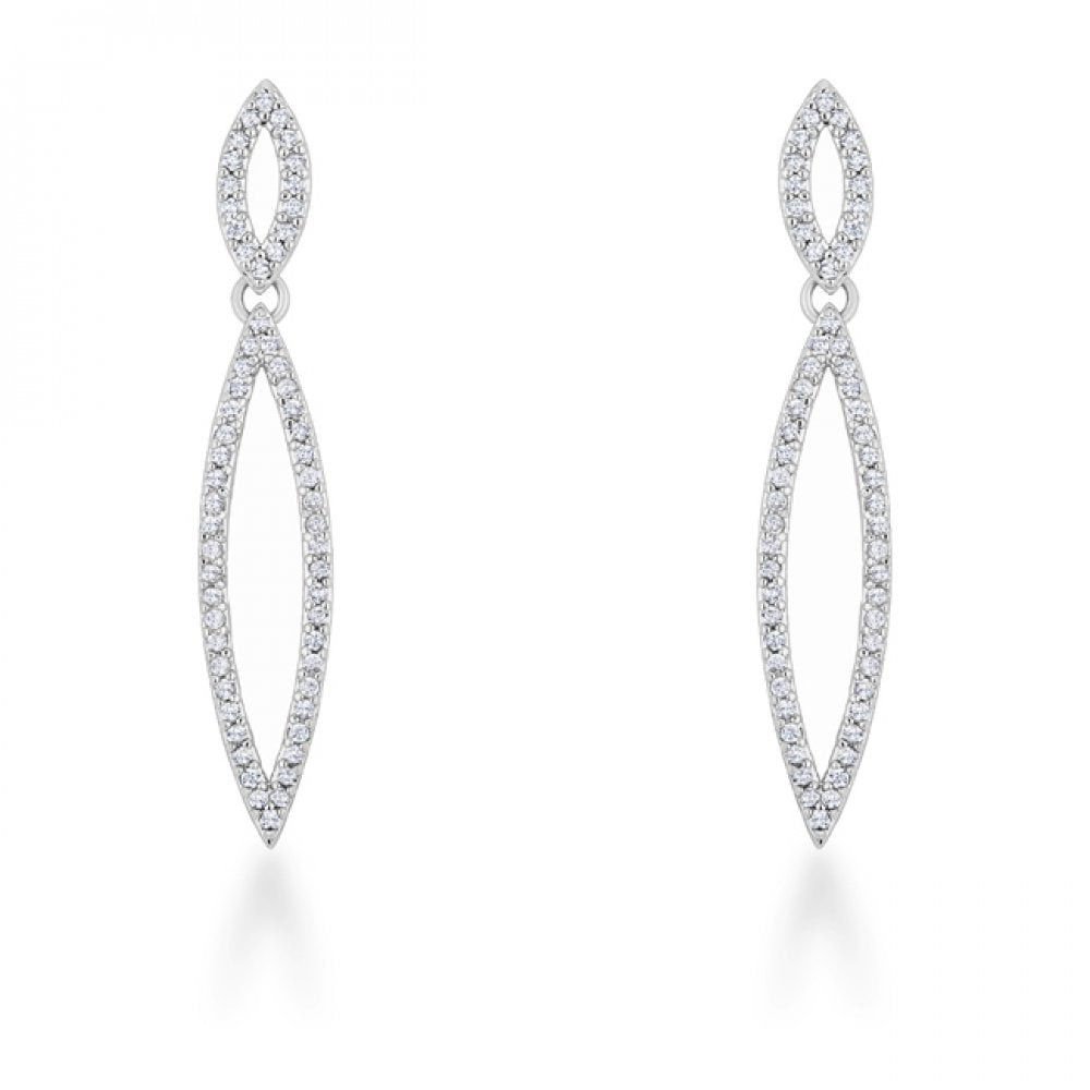 Sara 1.2ct Cz Rhodium Delicate Double Teardrop Drop Earrings