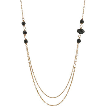 Esmerelda Necklace With A Double Gold Chain With Linked Onyx Beads In Gold Tone