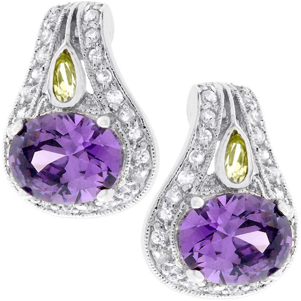 Majestic Amethyst Cz Earrings