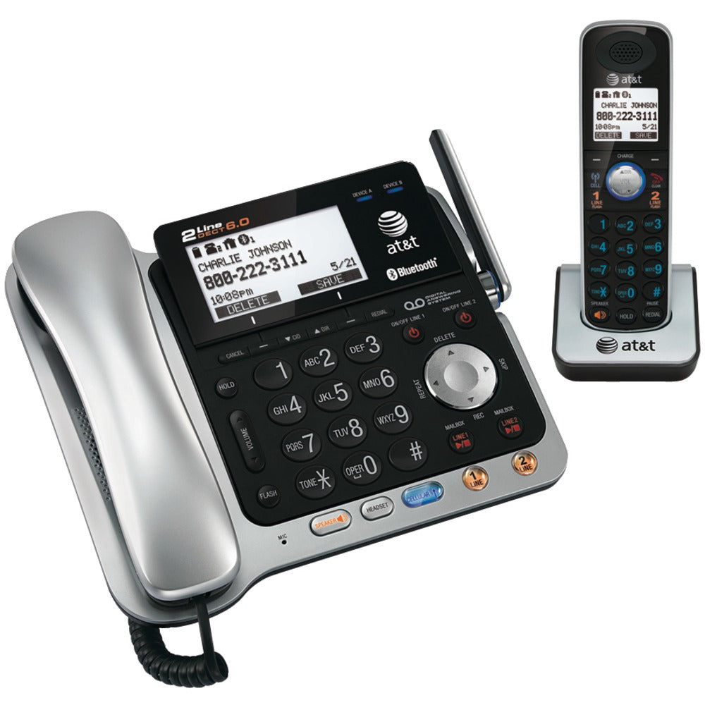 AT&T Dect 6.0 2-line Connect-to-Cell Corded And Cordless Bluetooth Phone System (corded Base System & Single Handset )