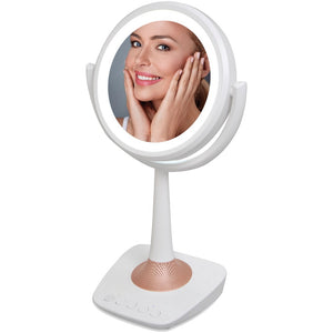 Qfx 5-Inch Lighted Makeup Mirror And Bluetooth Speaker