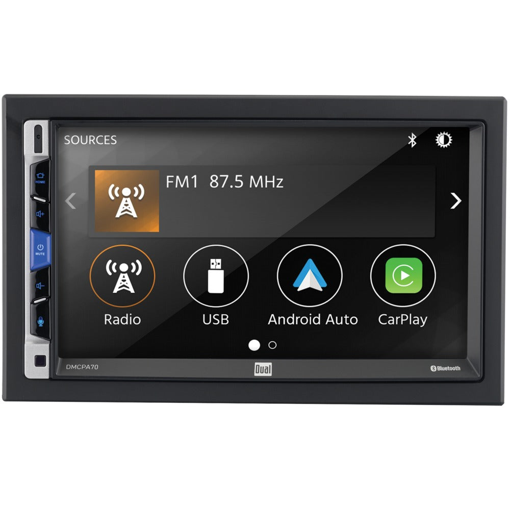 Dual 7-inch Double-din In-dash Mechless Receiver With Bluetooth Apple Carplay And Android Auto