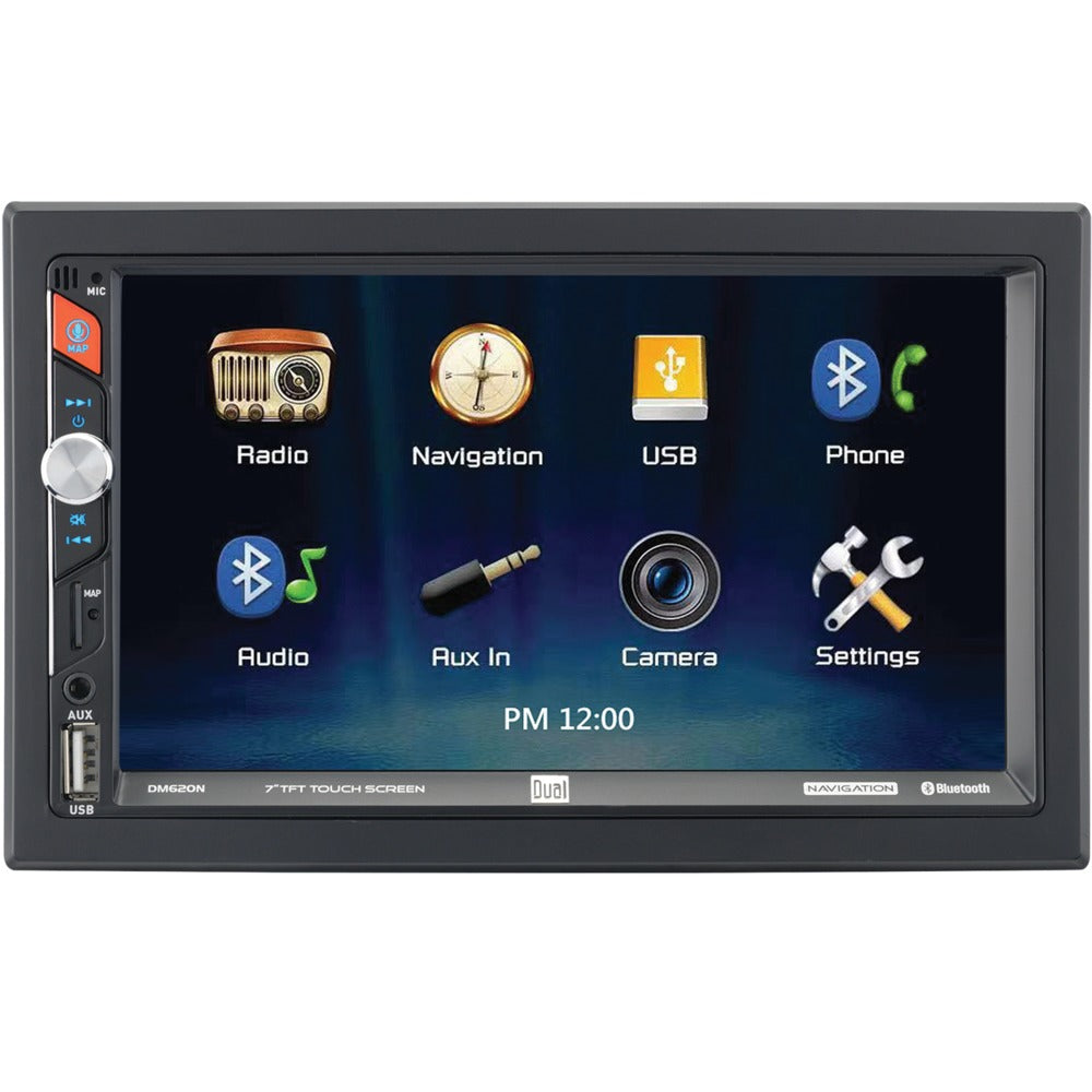 Dual 7-inch Double-din In-dash Mechless Receiver With Built-in Navigation And Bluetooth