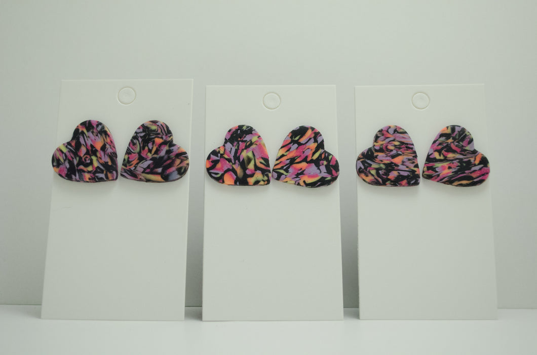 Polymer Clay Heart Earrings - Sunset Marble