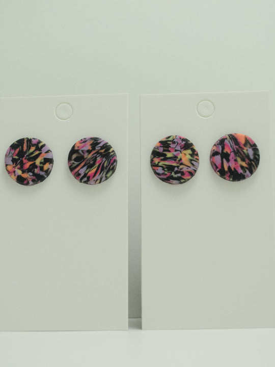 Polymer Clay 2 cm Studs - Sunset Marble