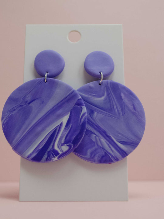Polymer Clay Large Circle Earrings