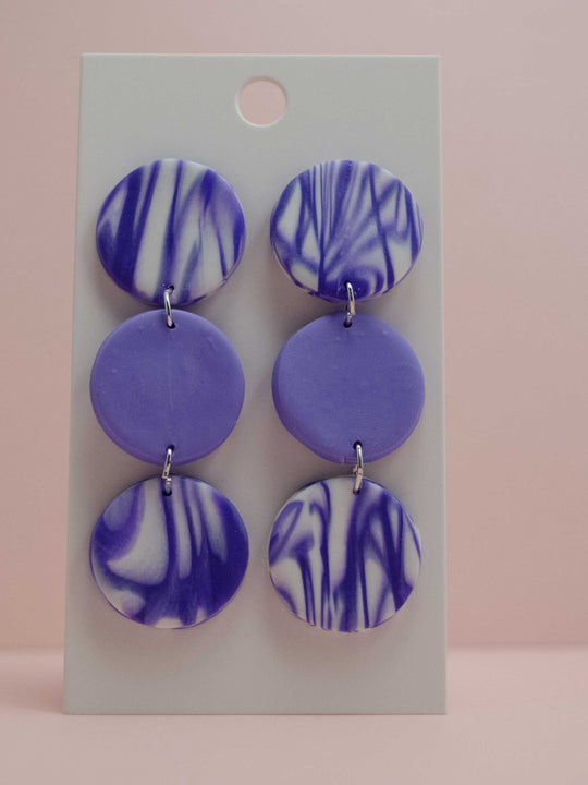 Polymer Clay 3 Circle Earrings