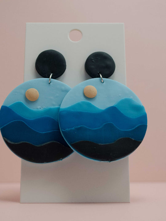 Polymer Clay Large Circle Earrings - Blue Sunset