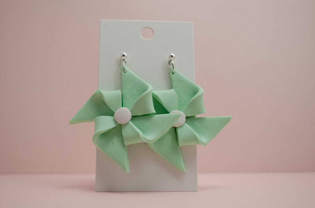 Polymer Clay Pinwheel - Green