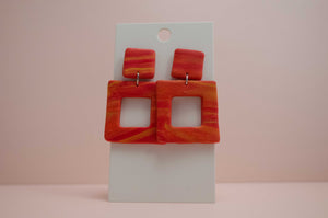 Polymer Clay Square Cutout Earrings - Red/Orange/Yellow