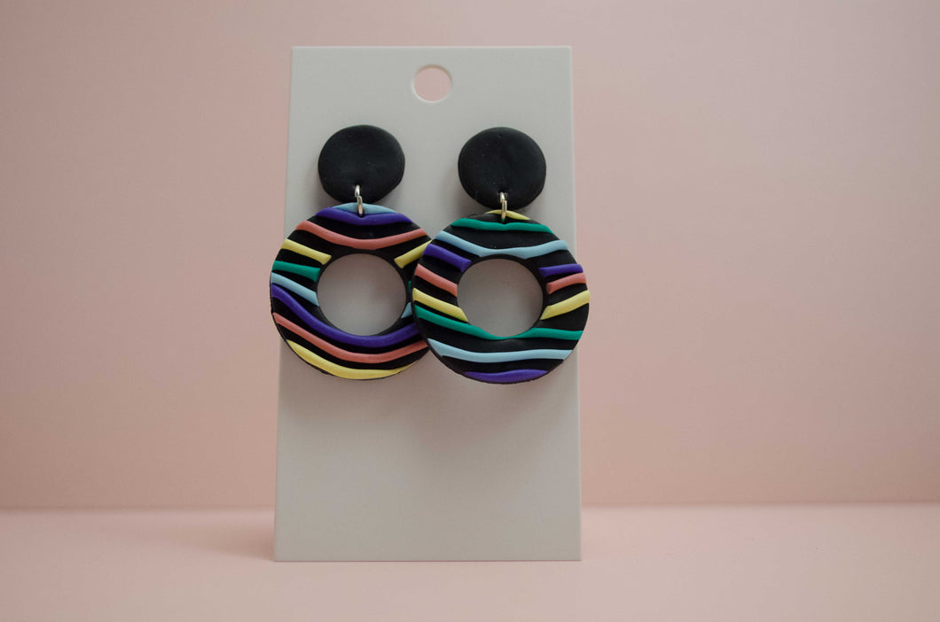 Polymer Clay Circle Cutout Earrings