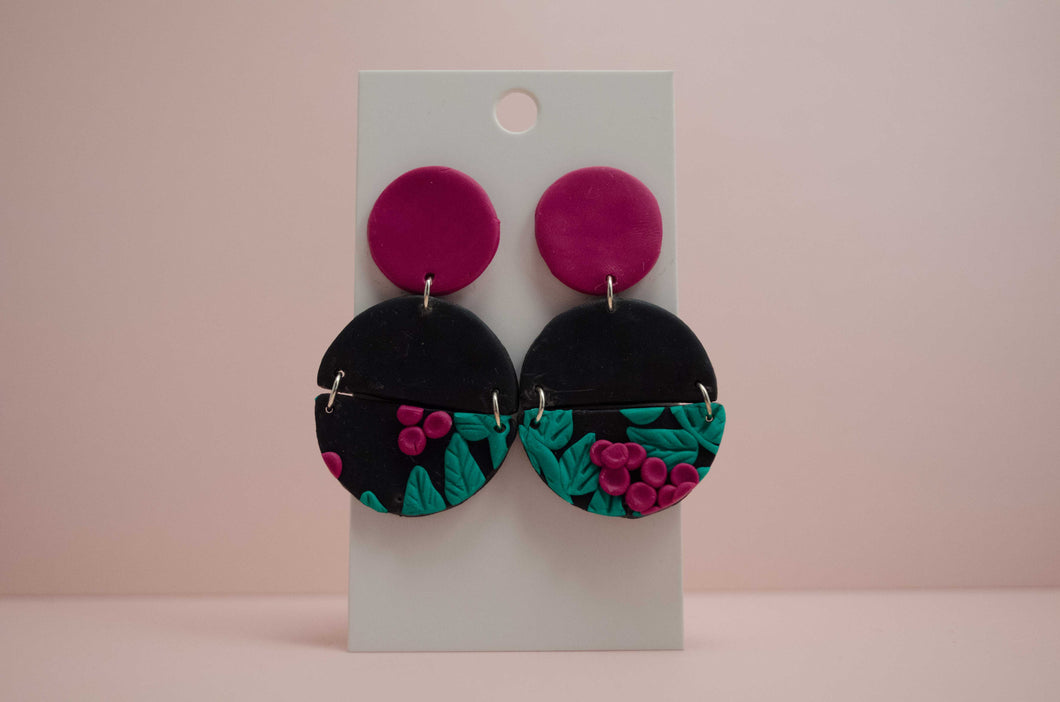 Polymer Clay Tiered Connected Circles Earrings - Berries