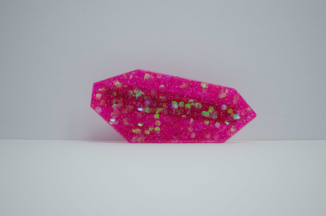 Hair Clip - Pink with Green Glitter