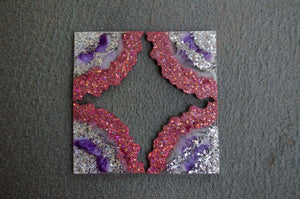 4 Piece Coaster Set - Pink/Silver