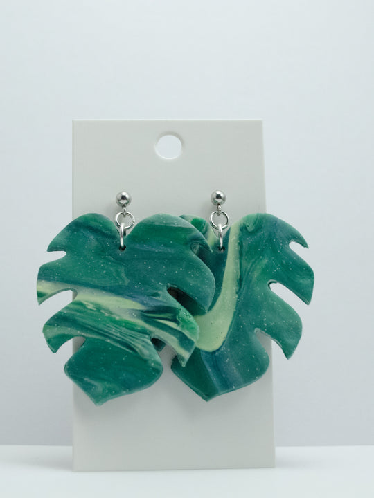Polymer Clay Large Leaf - Green Marble