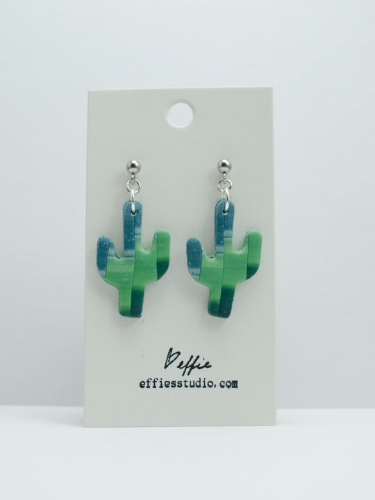 Polymer Clay Cactus Earrings - Green