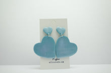 Load image into Gallery viewer, Polymer Clay Double Hanging Hearts