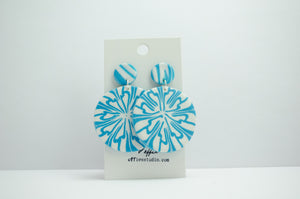 Polymer Clay Large Circle Earrings - Abstract Snowflake